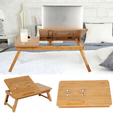 Bamboo Laptop Desk Foldable Bed Table Adjustable Computer Lap Stand Sofa Tray UK