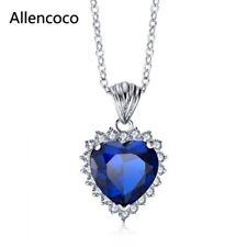 18K WHITE GOLD PLATED  AUSTRIAN CRYSTAL & CZ SAPPHIRE BLUE HEART NECKLACE