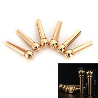 6x Brass Bridge Pins for Acoustic Guitar 27mm Length Head Diameter 8mm 2017