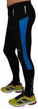 More Mile Mens Thermal Running Tights Black Blue Fleece Lined Winter Run Tight