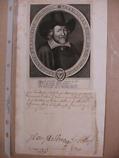 Francis Rous 1648 Partial Signed Document (and Engraving) - Bible