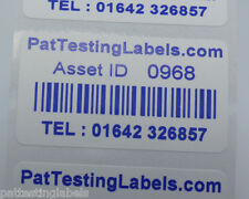 1000 Coloured Blue Personalised Barcode Asset Labels Stickers (PAT Testing)