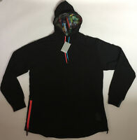 Asics Tiger Men's XL Black Multi Color Side Zip Cotton Pullover NT Hoodie New