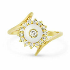 1/4 Ct Natural Diamond Halo Engagement Ring in 14k Yellow Gold