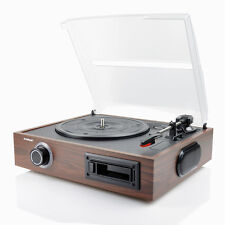 NEW mbeat 2-IN-1 USB Wooden Turntable and Cassette to Digital Recorder