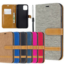 Canvas Leather Flip Phone Cover Case For iPhone 12 Mini 11 Pro Max Xr X 8 7 6 5