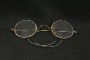 Vintage 1930's 1940's USA Wire Cable Wrap Temple Round Eyeglasses Glasses