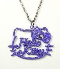 Pendentif Hello Kitty chaîne noeud couleur violet paillettes