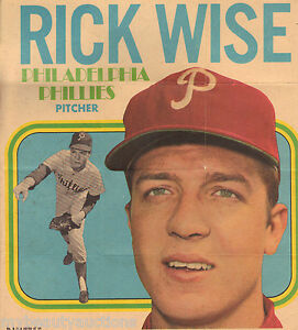 Rick Wise 1970 Topps Inserts / Promo Posters # 8. Pin- Up. NM / MINT.
