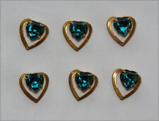 VINTAGE BRASS HEART BEAD PENDANT FINDING RHINESTONE • BLUE ZIRCON • 10mm
