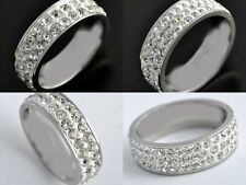 10PCS QUALITY SILVER STAINLESS STEEL RINGS CZ WHOLESALE LOTS