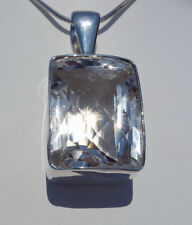Eye Popping Optically CLEAR QUARTZ Crystal CUSTOM Cut Faceted Sterling Pendant