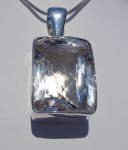 Sparkling Clear Quartz Crystal in .950 Sterling Silver Pendant by Charles Albert
