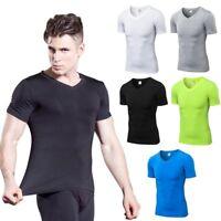 Men's Compression V-Neck Sport Gym T-shirt Short Sleeve Fitness Workout Tops Tee