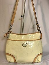Coach F20022 Peyton Patent Leather Hobo Crossbody Shoulder bag Cream Beige