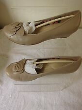 Reduced HOTTER PERIWINKLE LADIES BEIGE LEATHER HEELS  WEDGE SHOES UK 8  RRP £75