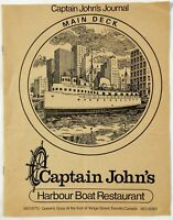 1980's Vintage Menu CAPTAIN JOHN'S Harbour Boat Restaurant Toronto Canada