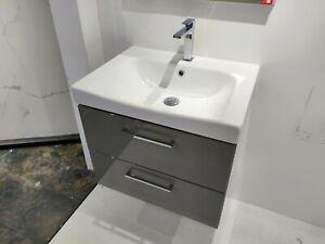 Faeber Monaco 600 Gloss Grey Vanity Unit with Basin  + Tap - Ex-Display RRP £720