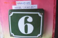 Hausnummer Nr. 6 weiße Zahl auf gras - grünem Hintergrund 12 cm x 10 cm Emaille