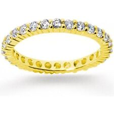 1 ct total Round Diamond Ring Eternity Band 14k Yellow Gold Vs/Si1, Any size