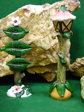 Fairy Garden Miniature Doll House Lamp Post and Fly Zone Fairy Land Sign NEW