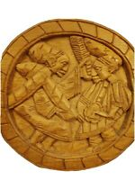 "Hand Carved Wood Plaque 2 African Tribal Warriors in Battle 12"" Round Diameter"