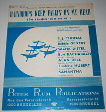 Partition vintage sheet music SACHA DISTEL / BURT BACHARACH : Raindrops * 60's