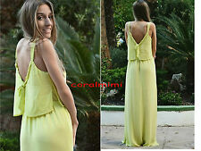 ZARA NEW LIGHT YELLOW DOUBLE LAYER LONG MAXI DRESS WITH SIDE SLIT SIZE Xs