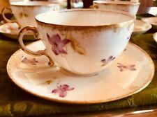 5 sets Vintage Limoges Elite Tea Cups & Saucers Pink Purple Violets Gold France