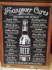 HANGOVER CURES AROUND THE WORLD METAL WALL SIGN 40X30cm, PUB/BAR/RESTAURANT