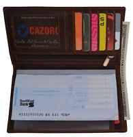 RFID Blocking Brown Vintage Leather Men's Bifold Checkbook Wallet Card Holder