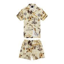 Boy Toddler Aloha Shirt Set Shorts Beach Hawaiian Cruise Luau Cotton Yellow Map