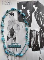 ANTIQUE ART DECO 1920s VENETIAN END OF DAY AQUA BEADS FLAPPER NECKLACE GATSBY