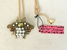 Gold Plated Brooch Pendant Necklace Betsey Johnson Crystal Pearl Bee