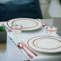 Rose Gold Plastic Dinnerware Set 600 Pieces - 100 Guests - Plates, Cups& Cutlery