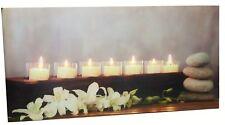großes Bild mit 7 LED beleuchteten Kerzen 60 X 30 Cm Feng Shui Wandbild