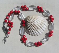 """Clear Quartz & Red Coral Chunky Statement Necklace """"Crimson Glory"""""""