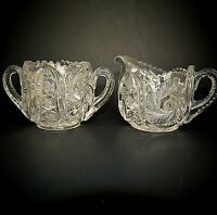 Mckee Wiltec Creamer & Open Sugar Clear Glass Spinning Feather