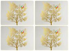 Set de 4 oiseaux arbre feuille gris clair liège soutenu Carré