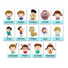 14 X Emotion Cards Kid's Cartoon English Learning Card Cards Emotional R1V4