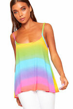 Womens Ladies Cami Flared Strappy Multi Colour Vest Sleeveless Top Plus Size