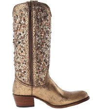 NIB Women's Frye Leather Deborah Studded Tall In Gold 77860