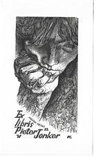 PETER LAZAROV: Exlibris für Pieter Jonker, Nachdenklicher