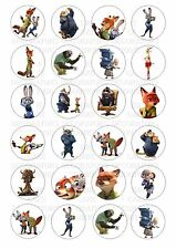 24 Zootropolis Wafer / Rice Paper Cupcake Topper Edible Fairy Cake Bun Toppers