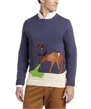 Alex Stevens Men's Reindeer Hangover Ugly Christmas Sweater, Blue, Small
