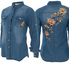 Ladies Denim Floral Rose Flower Embroidered Shirt Long Sleeve Applique Casual