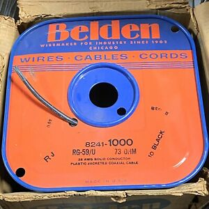 Belden Wire 8241 RG-59/U Coax Cable 1000' New In Box