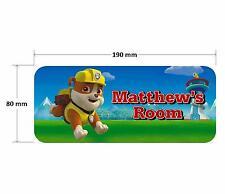 Paw Patrol Rubble Door Plaque - Dog Personalised Childrens Bedroom Sign Girls