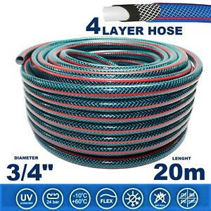 """3/4"""" 20m 4-LAYER Hosepipe STRONG Garden Hose Pipe Premium REINFORCED Outdoor"""
