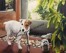 Linda Daniels PERSONAL TRAINER CANVAS S/N Artist Proof Jack Russell Terrier Art